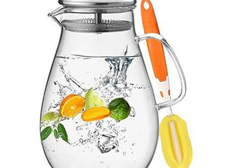 Hiware 64 Ounces Glass Pitcher with Stainless Steel lid   Water Carafe with Handle   Good Beverage Pitcher for Homemade Juice   Iced Tea  Cleaning Brush Included