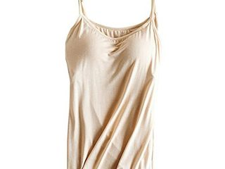 Womens Modal Built in Bra Padded Camisole Yoga Tanks Tops SP Apricot XXl