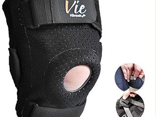 Knee Brace Plus Size Exclusive   Hinged Side Closing Design for Fast Easy Wearing  Designed for Plus Size Men and Women  Provides Great Stabilization  Support  Non Slip   Non Bulky Vievibrante 3 Black