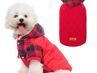 BINGPET Dog Winter Coat  Classic Plaid Dog Hoodie with leash Hole  Cold Weather Clothes with Detachable Hat  Pet Warm Thicker Fleece Oufit for Small and Medium large Dogs