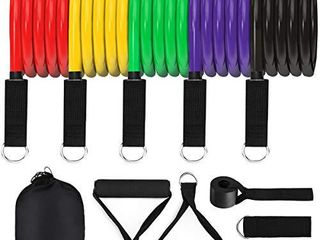 Pathonor Resistance Bands Set  11 pcs  Exercise Bands Fitness Bands  Stackable Up to 100 lbs  with Door Anchor  Handles  Carry Bag  legs Ankle Straps for Resistance   Fitness Training Working Out