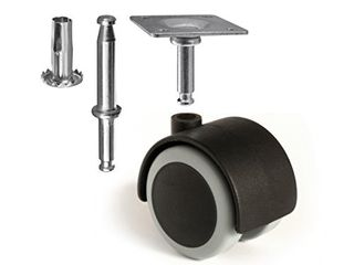 Slipstick CB681 2 Inch Floor Protector Rubber Caster Wheels  Set of 4  5 16 Inch Stem or Top Plate Mounting Options   Black Gray