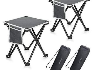2 Pack Camping Stool  13 8 Inch Portable Folding Stool for Outdoor Walking Hiking Fishing 400 lBS Capacity with Carry Bag