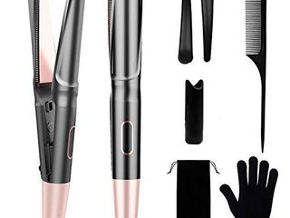 COOlKESI Ionic Hair Straightener   Curler 2 in 1  Tourmaline Ceramic Twisted Curling Straightening Flat Iron  Fast Heating Hair Styling Tools with Adjustable Temperature  lCD Display   Auto Shut Off