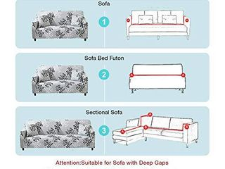 Bikuer Printed Sofa Cover Stretch Couch Cover Sofa Slipcovers for 3 Cushion Couch with 2 Free Pillow Case  Sofa  Silver leaves