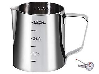 Coffee Milk Frothing Pitcher Cup with Measurement Inside Thermometer set 12oz 350Ml Stainless Steel Espresso Steaming Pitcher Tool for Cappuccino Machines Espresso Pitcher latte Art