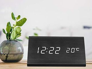 lEPOWERP Digital Alarm Clock  Triangle Wooden Clock with lED Time Display  3 Alarm Settings  Humidity   Temperature  Electric Clocks for Bedroom   Bedside  Black