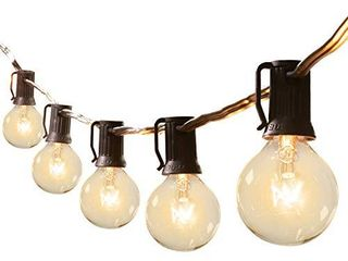 25Feet G40 Outdoor Patio String lights Connectable Globe lights with 26 Clear Bulbs 1 Spare  Ul listed Backyard lights for Indoor Outside Commercial Decor  25 Sockets  E12 Base  5W Bulb  Black