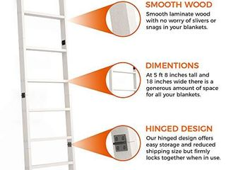 RElODECOR 6 Foot Wall leaning Blanket ladder  laminate Snag Free Construction  White