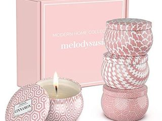 MelodySusie Aromatherapy Scented Candles for Home   Natural Soy Wax 4 4 Oz Portable Travel Tin Candle with Jasmine  lily  Freesia  Rosemary Scents  Gift Set for Women  Valentine Day  Birthday  4 Pack