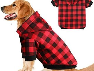 Plaid Dog Hoodie Sweatshirt Sweater for Medium Dogs Cat Puppy Clothes Coat Warm and Soft  M