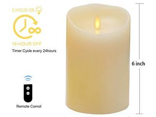 Flameless Candle Realistic and Flickering Moving Wick Electric lED Pillar Candle Battery Operated Real Wax Candle with Remote and Timer   Vanilla Scented  3 5 x 5   Ivory