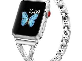 PUGO TOP Replacement for Apple Watch Band 38mm 40mm Series 6 5 4 3 2 1 SE Women Iwatch Iphone Watch Bracelet Wristband link Cuff with Bling Rhinestones  38mm 40mm  Silver