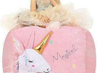 Anzitinlan Unicorn Chair for Girls  Stuffed Animal Storage Bean Bag Chair  Toy Storage BeanBag for Children  Baby Fleece Fabric Super Soft  Cover Only  22 x24  Extra large Ballet Horse
