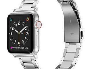 Wearlizer Stainless Steel Band Compatible with Apple Watch Band 38mm 40mm Women Men Ultra Thin lightweight Color Matching Replacement Band Strap Bracelet Compatible for iWatch Bands Series654321 Silver