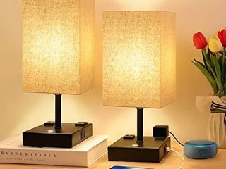 Bedside lamp  3 Way Dimmable Touch Control Table lamp with 2 USB Charging Ports 2 AC Outlets  Nightstand lamp with Flaxen Fabric Shade Bedroom lamp for Bedroom living Room  Reading  Office  Set of 2