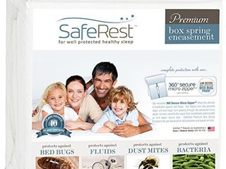 SafeRest Premium Box Spring Encasement   Waterproof   Hypoallergenic  Breathable  Noiseless and Vinyl Free   Twin Extra long  Xl
