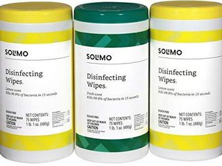 Amazon Brand   Solimo Disinfecting Wipes  lemon Scent   Fresh Scent  Sanitizes Cleans Disinfects Deodorizes  75 Count  Pack of 3