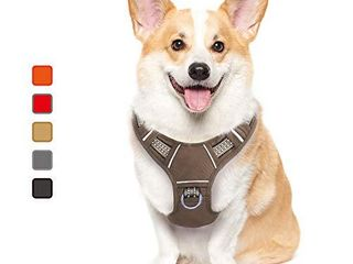 ATOPARK Dog Harness No Pull Pet Harness Adjustable Comfortable Harness with Handle Outdoor Pet Vest Reflective Oxford Soft Breathable Vest Easy Control for Small Medium large Dog Grey S