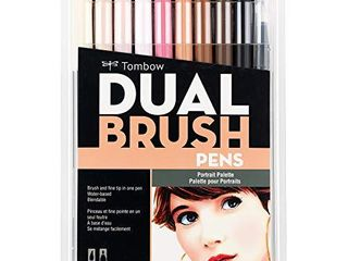 Tombow 56170 Dual Brush Pen Art Markers  Portrait  10 Pack  Blendable  Brush and Fine Tip Markers