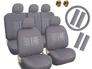leader Accessories Embossed Cloth Grey 17pcs Car Seat Covers Full Set Front   Rear Universal Fits Trucks SUV with Airbag Steering Wheel Cover Shoulder Pads