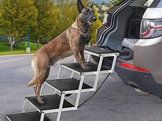Heeyoo Folding Dog Car Steps  Portable Aluminum Fram large Dog Stairs for High Beds  Trucks  Cars and SUV  lightweight Foldable Pet ladder Ramp with Nonslip Surface Can Support 150 200 lbs large Dog