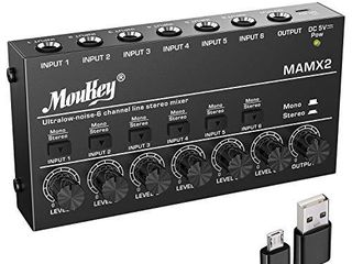 Moukey Ultra low Noise 4 Channel line Mixer for Sub Mixing  DC 5V 4 Stereo Mini Audio Mixer  Ideal for Small Clubs or Bars  As Microphones  Guitars  Bass  Keyboards or Stage Mixer MAMX1
