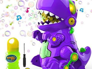 WisToyz Bubble Machine Dinosaur Bubble Blower  Walk   Stay Still Two Settings  Music   light  Bump N Go Feature  Toddler Toys Bubble Machine for Kids  Two Bottles of Bubble Solution   Screwdriver