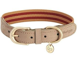 Blueberry Pet 8 Colors Soft   Comfy Genuine leather   Polyester Combo Adjustable Dog Collar   Classic Staple Striped in Red and Brown  Medium  Neck 15 18