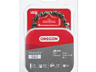 Oregon S62 AdvanceCut Chainsaw Chain for 18 Inch Bar  Fits Echo CS 400 and CS 370  Poulan 2150 and 4180   More   050 Inch Gauge  62 Drive links