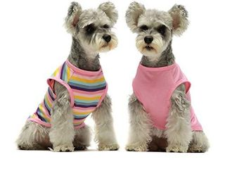 Fitwarm 2 Pack 100  Cotton Striped Dog Shirt for Pet Clothes Puppy Vest T Shirts Cat Top Tee Breathable Stretchy Pink Xl