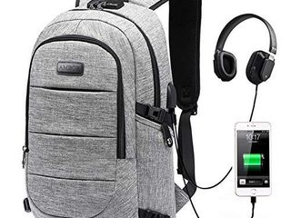 Travel laptop Backpack  AMBOR 15 6 17 3 Inch Anti Theft Business Backpack with USB Charging Port and Headphone Interface large Computer Backpack School Daypack Backpack for Women and Men Grey