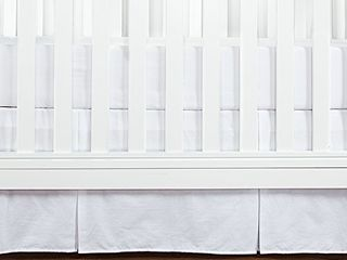 TIllYOU Crib Bed Skirt Pleated  100  Natural Cotton  Nursery Crib Toddler Bedding Skirts for Baby Boys or Girls  14  Drop White
