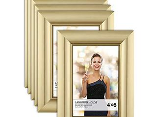langdon House 4x6 Picture Frames  Champagne  6 Pack  Contemporary Glam Photo Frames 4 x 6  Wall Mount or Table Top  Celebration Collection