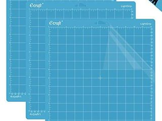 Ecraft 12 X12  light Grip Cutting Mat for Cricut Explore One Air Air 2 Maker 3 pack  Adhesive Sticky Flexible Square Gridded Blue Quilting Cut Mats Replacement for CraftsaSewing and All Arts