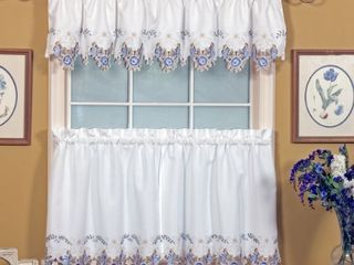 Today s Curtain Verona Reverse Embroidery Valance  14 Inch  White Blue  Set of 4