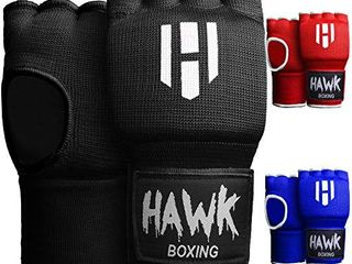 Hawk Padded Inner Gloves Training Gel Hand Wraps for Boxing Quick Wraps Men   Women Kickboxing Muay Thai MMA Bandages Fist Knuckle Wrist Protector Handwraps  Pair   Black  S M