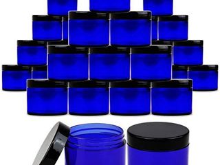 Beauticom 2 oz  60 Grams  60 Ml  Quantity  36 Packs  Thick Wall Round COBAlT BlUE Plastic lEAK PROOF Jars Container with BlACK lids for Cosmetic  lip Balm  Creams  lotions  liquids