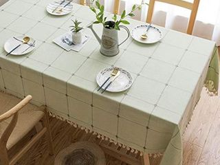 Pahajim linen Rectangle Tablecloth Table Cloth Heavy Weight Cotton linen Dust Proof Table Cover for Party Table Cover Kitchen Dinning  light Green  Rectangle Oblongi1 455 x 79 Inch