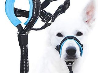 GoodBoy Dog Head Halter with Safety Strap   Stops Heavy Pulling On The leash   Padded Headcollar for Small Medium and large Dog Sizes   Head Collar Training Guide Included  Size 4  Blue