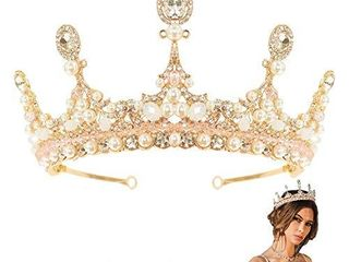 Gold Crown for Women Girls Crystal Queen Crown Princess Tiara for Christmas Party Bride Elegant Rhinestone Wedding Crown with Faux Pearls Exquisite Hair Crown for Pageant and Prom
