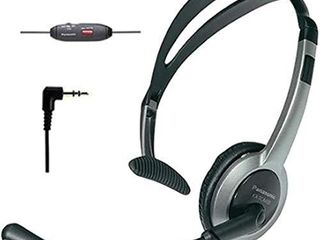 Panasonic KX TCA430 Comfort Fit  Foldable Headset with Flexible Noise Cancelling Microphone and Volume Control  Regular  Grey Silver