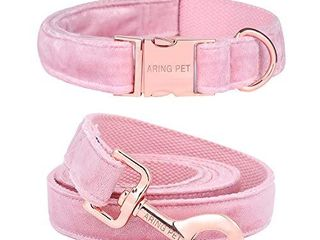 ARING PET Dog Collar and leash  Velvet Dog Collar and leash Set  Soft   Comfy  Adjustable Collars for Dogs