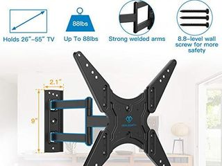PERlESMITH TV Wall Mount for Most 26 55 Inch Flat Curved TVs with Swivels  Tilts   Extends 19 5    Wall Mount TV Bracket VESA 400x400 Fits lED  lCD  OlED  4K TVs Up to 88 lbs   PSMFK1  Missing mount
