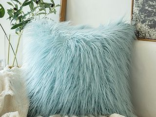 MIUlEE Decorative New luxury Series Style Faux Fur Throw Pillow Case Cushion Cover for Sofa Bedroom Car 16 x 16   light Blue