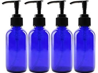 4 Ounce Cobalt Glass Pump Bottles  4 Pack  for Aromatherapy  lotions  Soaps   More