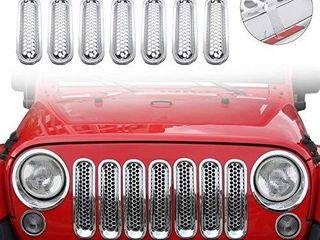 JeCar Clip in Front Grille Mesh Inserts for Jeep Wrangler JK   Unlimited 2007 2015  Chrome