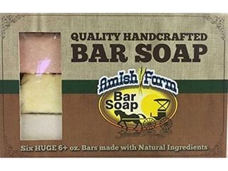 Natural Bar Soap Amish Farms Hand Cut  Hand Crafted  Six HUGE 6 Ounce Bars Made in USA