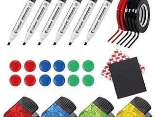Whiteboard Kit a Complete Set With 6 Whiteboard Marker With Chisel Tip  30 Magnetic Squares With 3M Strong Adhesive  6 Graphic Chart Tapes  4 large Magnet Clips And 12 Round Magnets