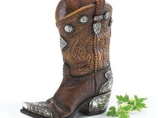 Burton and Burton Boots And Spurs Western Cowboy Boot Vase For Western Home Decor  Brown